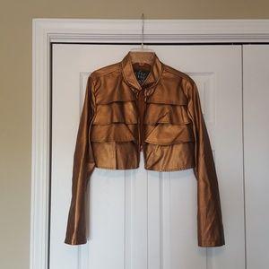 Cropped faux leather jacket, bronze metallic